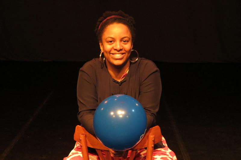 Stagiaire Eva en haar ballon